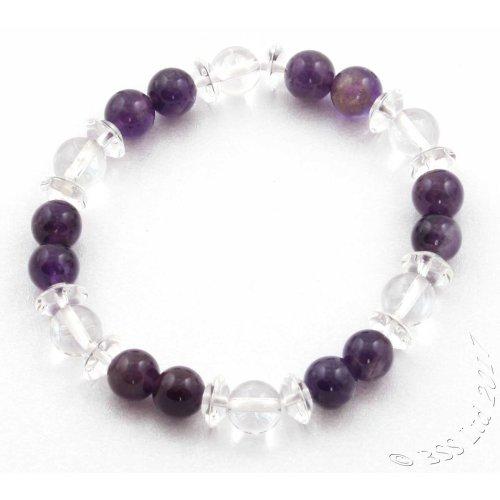 Amethyst and Rock Crystal quartz Gemstone Bracelet