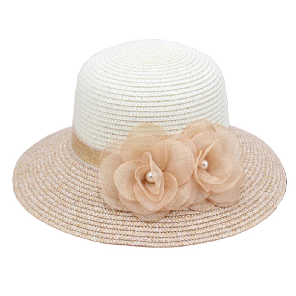 4934a0116 Women's/Girl's Stylish Fashion Flower Beach khaki Straw Sun Cap Hat