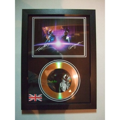 daft punk signed  gold disc display