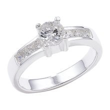 Sterling Silver Shoulder Set Cubic Zirconia Ring - Size K