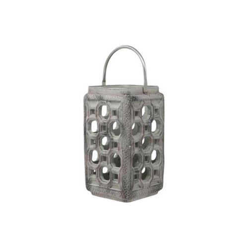 Urban Trends Collection 35770 Cement Square Lantern with Screwed Metal Top Handle & Multiple Holes Design Body, Washed Gray - Small