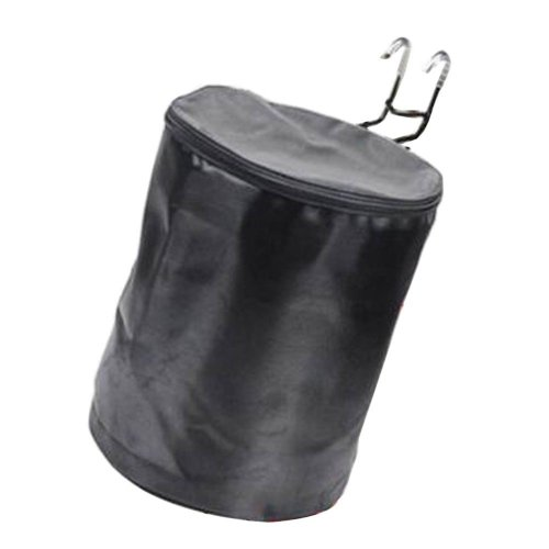[Black] Waterproof Canvas Bicycle Basket Foldable Lidded Basket for Bike