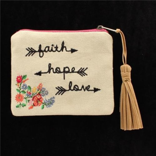 Blazin Roxx N770000508 Faith Hope Love Wording Coin Purse, Tan - 4 x 5 in.