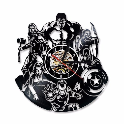 The Avengers Shape Vinyl Record Marvel Comics LED Wall Clock