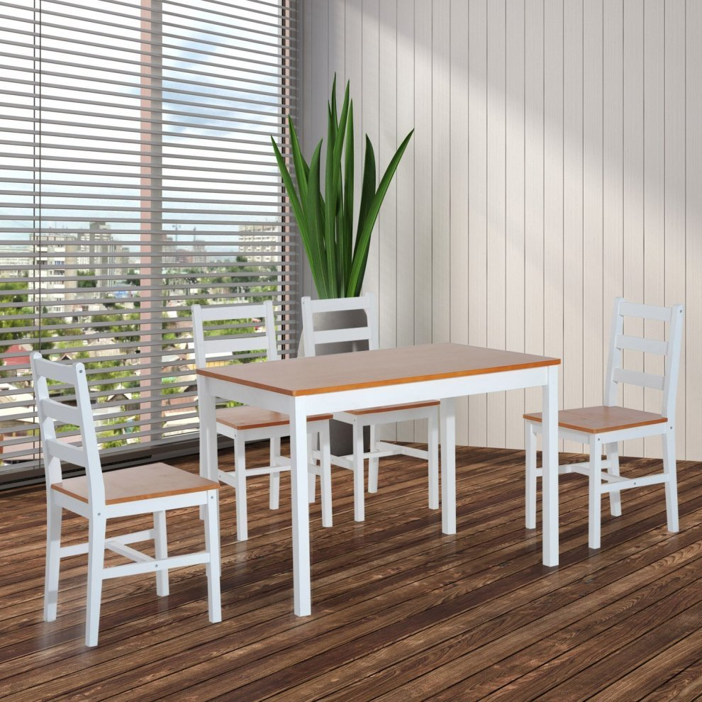 Wood Kitchen Table And Chairs: Homcom 5pc Dining Set 1 Table And 4 Chairs Solid Wood