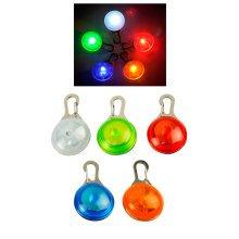 Pet Cat Dog Safety LED Clip Buckle Night Light Flashing Collar Pendant Neon New[Orange]