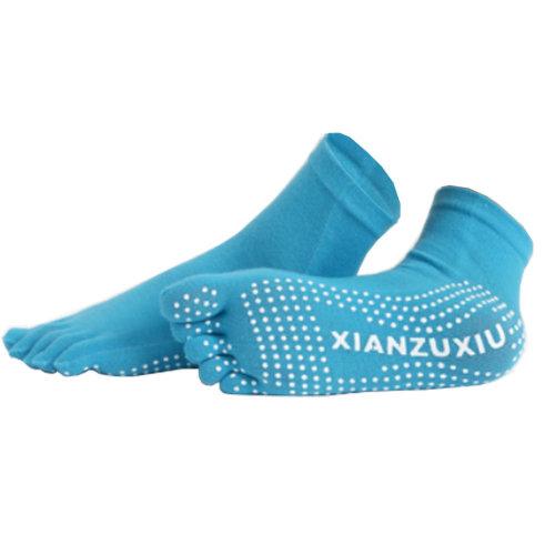 Women's Non Slip Full Toe Yoga Socks With Grip 2 Pairs Set,Blue