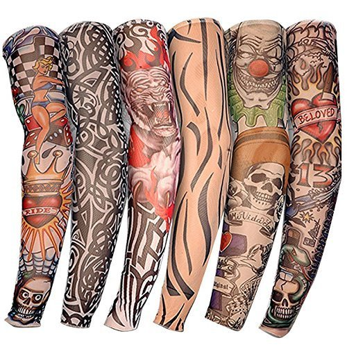 New Nylon Elastic Fake Temporary Tattoo Sleeve Designs Body Arm Stockings Tatoo for Cool Men Women (2pc/4pc/6pc) (Set of 2)