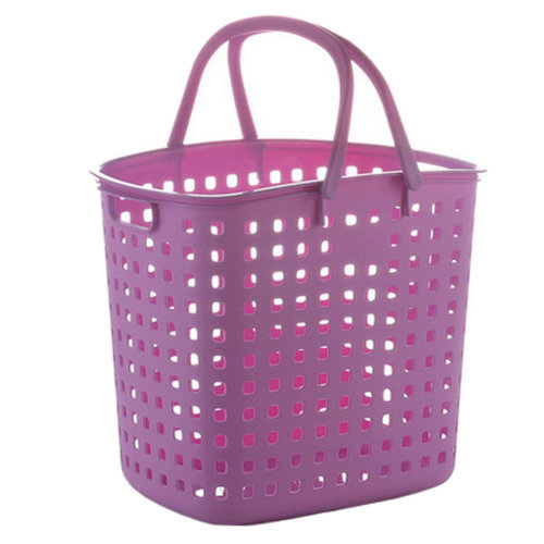 Household Storage Basket Clothes/Toys Organizer Chest with Handle, Purple