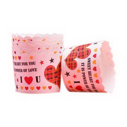 48 Pcs Multicolor Love Heart Pattern Muffin Cups Baking Cups Bread Paper Holders