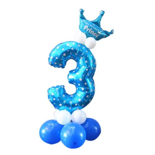 Column Balloons Childrens Birthday Party Balloon Stage Decoration Number 3 Blue On OnBuy