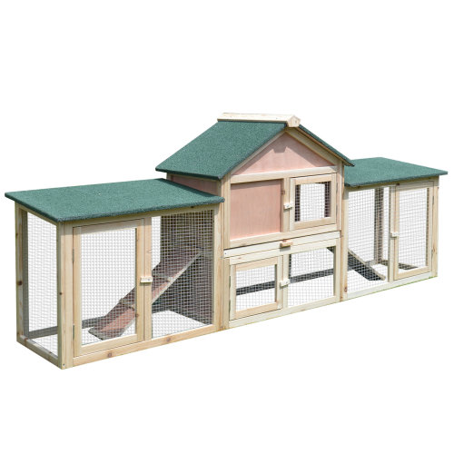 PawHut Deluxe Two-Storey Wooden Bunny Rabbit Hutch w/ Ladder Outdoor Run Box Slide-out Tray , 210 x 45.5 x 84.5 cm