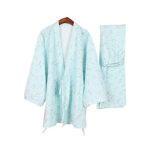 Stripes Floral Kimono Pajamas Women's Pajamas Suit Pajamas Cotton Pajamas