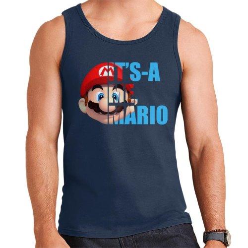 Super Mario Half Head Text Men's Vest