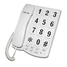 Tel UK New Yorker Big Button Corded Telephone - Black (Model No. Tel UK 18041B)