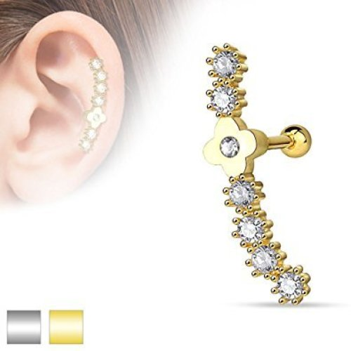 Daisy Chain with Clear Crystal Cluster Tragus or Cartilage