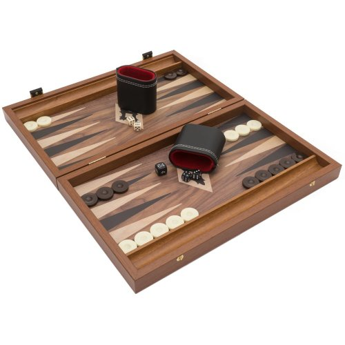 The Manopoulos Walnut Black and Oak Club Compact Backgammon Set with Philos Deluxe Cups