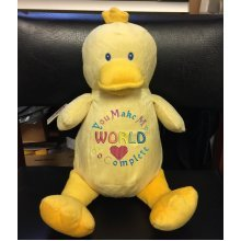Yellow Duck Teddy Bear Personalised Embroidery Message Name/Birth Date