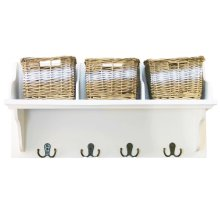 White Wood Shelf With Wicker Baskets & Hooks | Home Storage Organiser