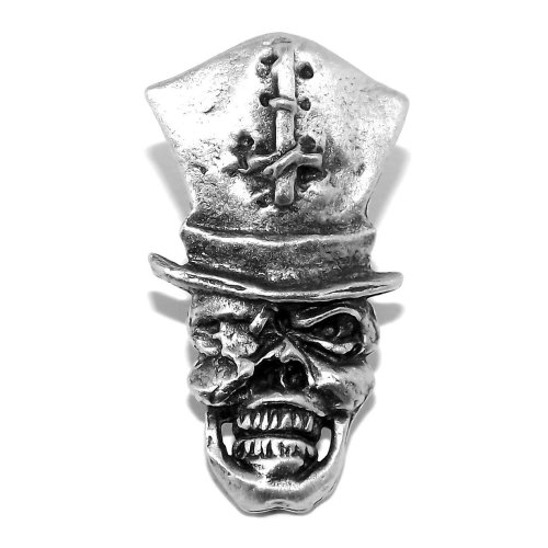 Gothic Skull and Inverted Cross Hat Pewter Pin Badge / Brooch (Steampunk style)