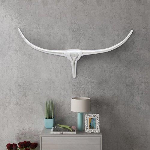 Wall Mounted Aluminium Bull€™s Head Decoration Silver 72 cm