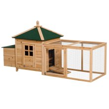 "PawHut 77.2"" Wooden Chicken Coop Hen Hutch Poultry Nesting Box and Run"