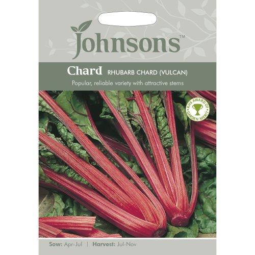 Johnsons Seeds - Pictorial Pack - Vegetable - Chard Rhubarb Chard (Vulcan) - 125 Seeds