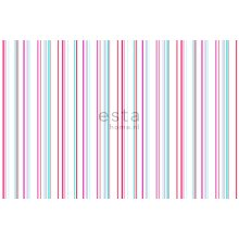 fabric stripes white and turquoise - 186807