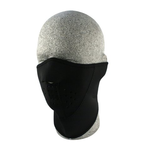 Black Neoprene Three Section Long Neck Half Mask - Ski, Biker etc
