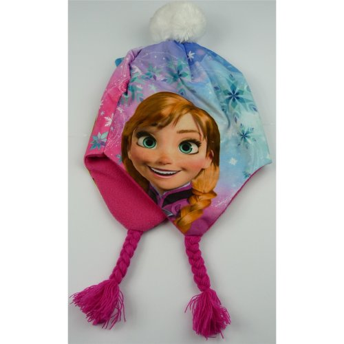 Girls HQ4042 Disney Frozen Peruvian Winter Hat Pink or Blue 52-54 cm
