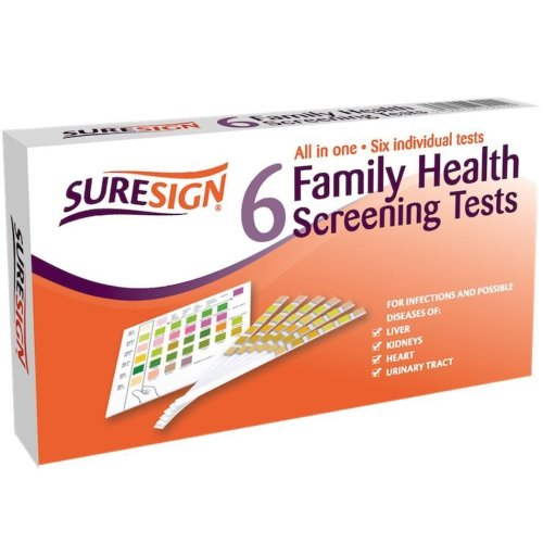 6 x Suresign Family Health Screening Test Sticks, All-in-One Liver Heart Kidneys