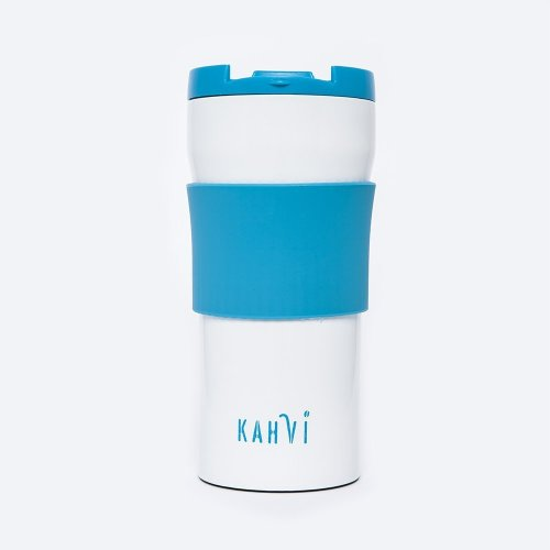 Kahvi Cafetiere Travel Mug / Coffee French Press / Tea Filter (Scuba Blue) in Stainless Steel