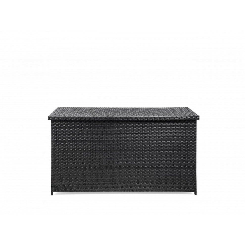 Beliani Modena 160 Cushion Box Resin Wicker Outdoor Storage Trunk