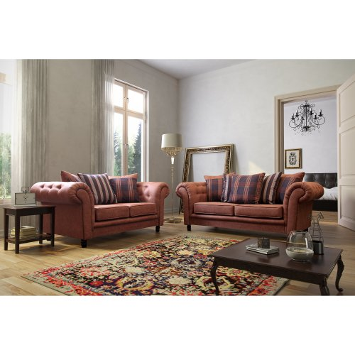 Tan Woodland 2 Seater & 3 Seater Chesterfield Sofa Suite