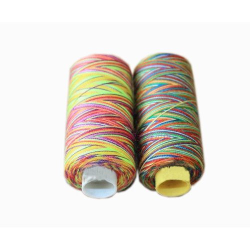 2 Spools Colorized Polyester Sewing Thread 150 Yards Each (Small Spool Thread)