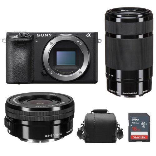 SONY A6500 Black + SEL 16-50MM + SEL 55-210MM + Bag + 16GB SD card