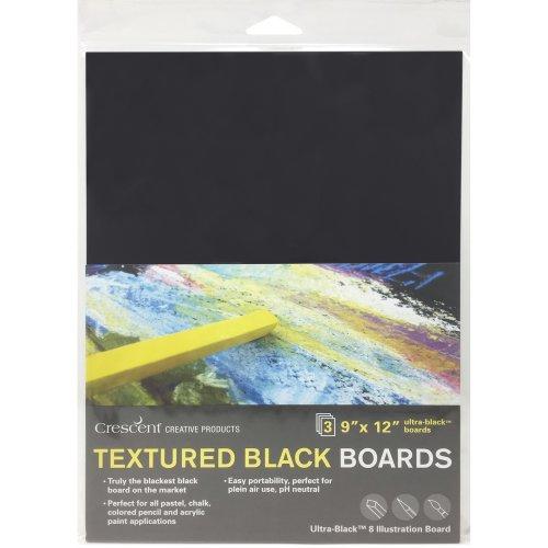 "Crescent Black Art Illustration Board 3/Pkg-9""X12"" Black"