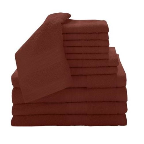 Baltic Linen 0353262480 100 Percent Cotton  12 Piece Luxury Towel Set - Paprika