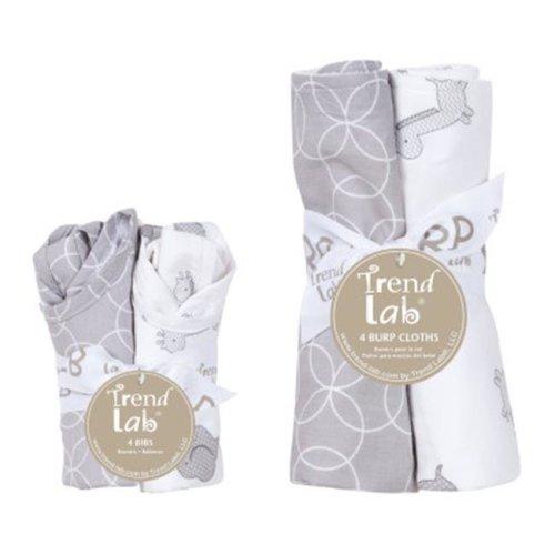 Trend Lab20873Gray And White Circles Bib And Burp Cloth Set - 8 Piece