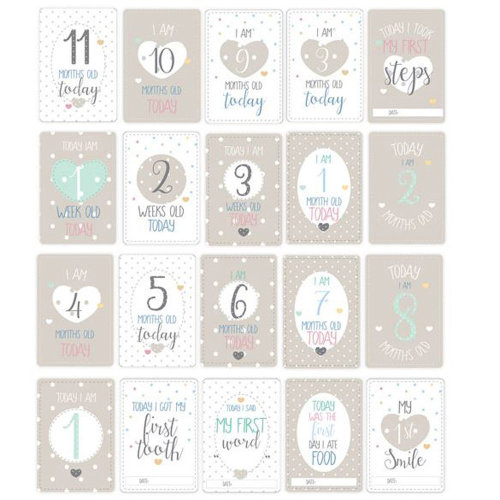 New Baby Milestone Assorted Cards | Baby Shower Gift Set 20 Pack