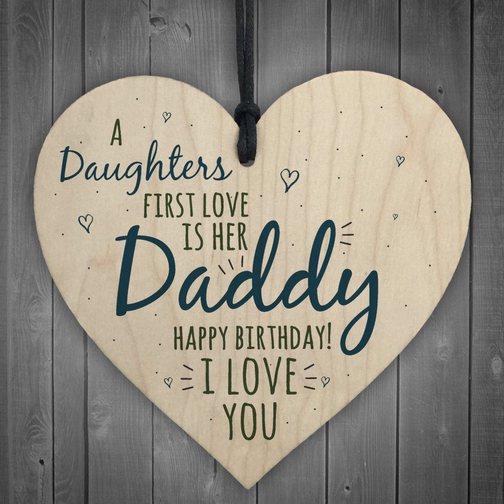 RED OCEAN First Love Daddy Dad Wooden Heart Happy Birthday Card Gift Son Daughter Baby Thank You On OnBuy