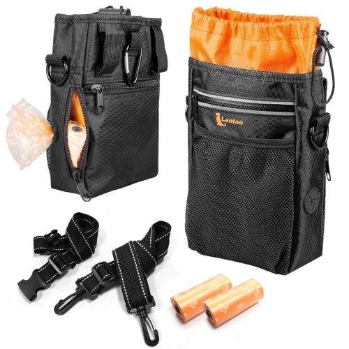 lanktoo Dog Treat Bag with Poop Bag Holder, Waterproof Dog Training Bag Pouch W/Shoulder Strap, Waist Belt, Clip, Easily Carry Dog Toys, Food - Black