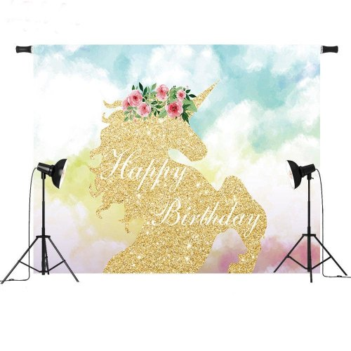 3x5FT Vinyl Unicorn Cartoon Scenic Baby Children Photography Backdrop Background Studio Prop