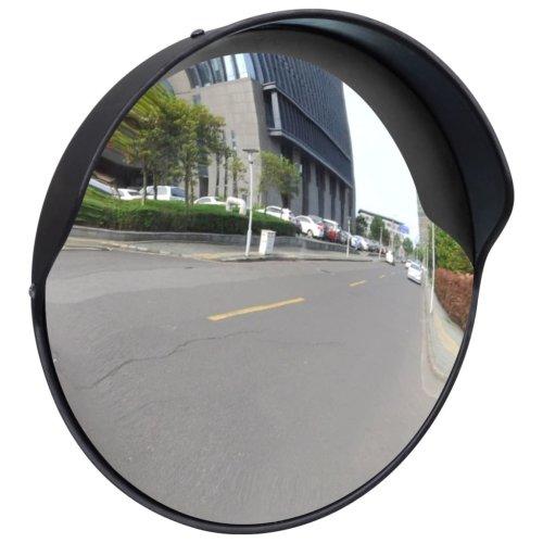 Convex Traffic Mirror PC Plastic Black 30 cm Wide Angle Outdoor Blind Spots