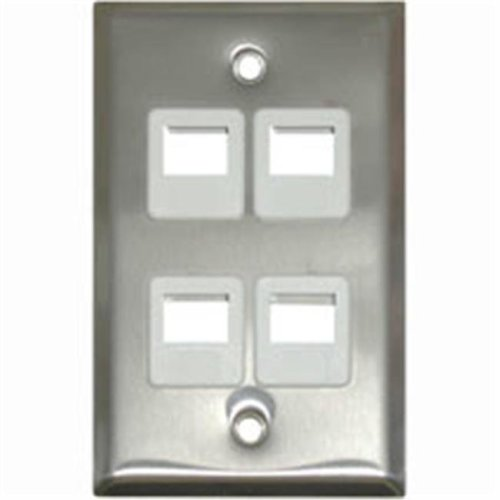 Cables To Go 37096 4-PORT SINGLE GANG MULTIMEDIA KEYSTONE WALL PLATE - STAINLESS STEEL