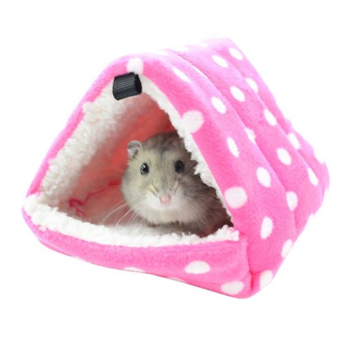 Pyramid Winter Warm Cotton Pet House for Small Furry Animals Hamster Cage PINK