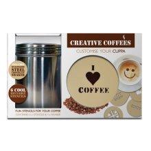 Set Of 7 Stainless Steel Coffee Stencils - Fizz Creations -  coffee stencils stainless steel set fizz creations 7