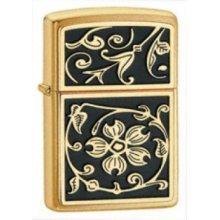 Brushed Brass Gold Floral Flush Zippo Lighter - Emblem Windproof Brand New -  gold floral flush emblem brushed brass windproof lighter brand new