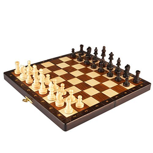 """Magnetic Wooden Portable Chess Game Set - 11"""""""