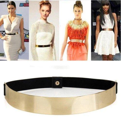 Sexy Lady Gold belt for Women Elastic Mirror Metal Waist Belt Metallic Bling Plate Wide Band Cummerbund Female Dress Accessories
